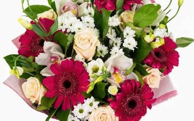 bouquet fleurs rouge blanc