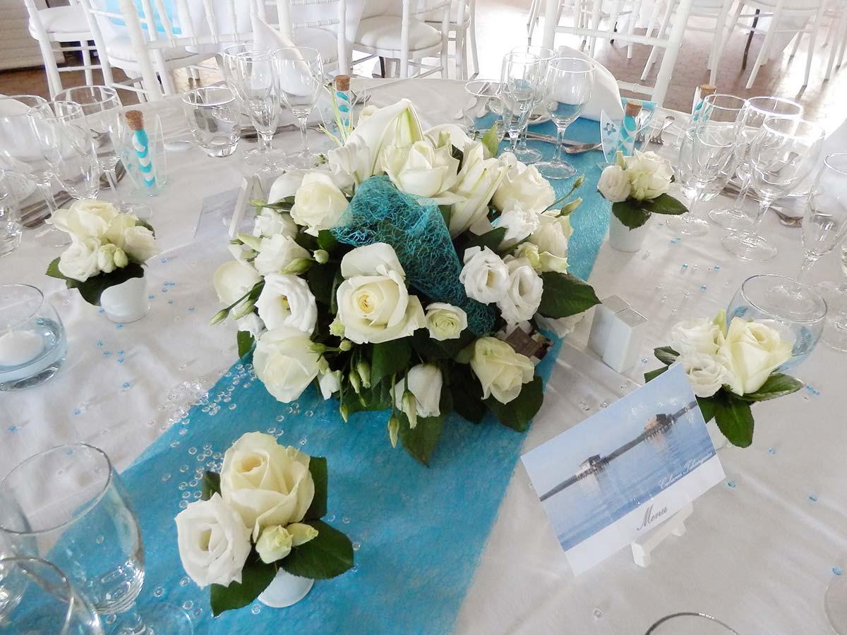Mariage turquoise et blanc - Centre de table bleu turquoise ...