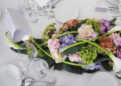 Des hortensias multicolores pour un mariage pastel