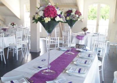 Décoration florale mariage fushia